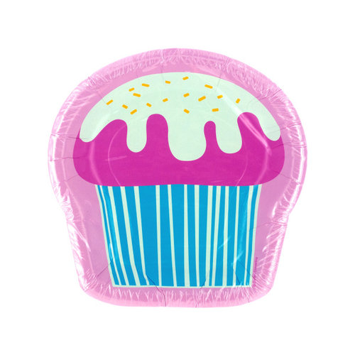 Bulk Buys PA634 8 Pk 8 X 8 In. Yummy Cupcake Shaped Plates Case of 144