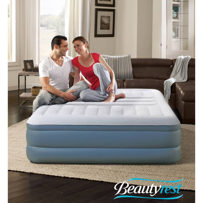 Simmons Beautyrest Lumbar Lux Queen Raised Air Bed Mattress With Built In Pump