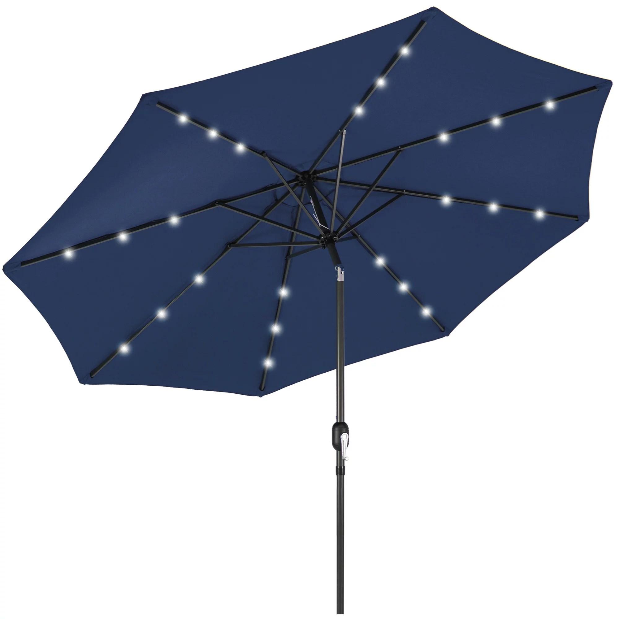 best choice products 10ft solar led lighted patio umbrella w tilt adjustment fade resistant fabric navy blue walmart com