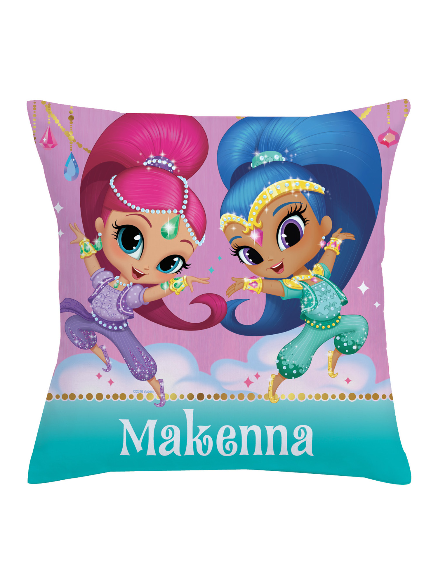 personalized shimmer and shine kids throw pillow make it sparkle pink