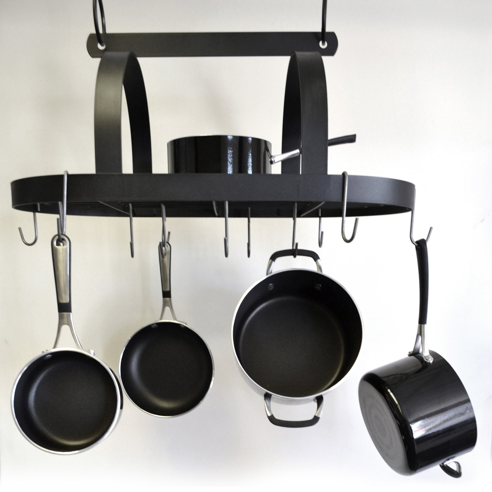 j j wire hanging pot and pan rack with shelf