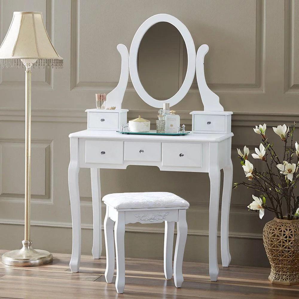 ktaxon vanity makeup dressing table set w stool 5 drawers mirror jewelry desk white