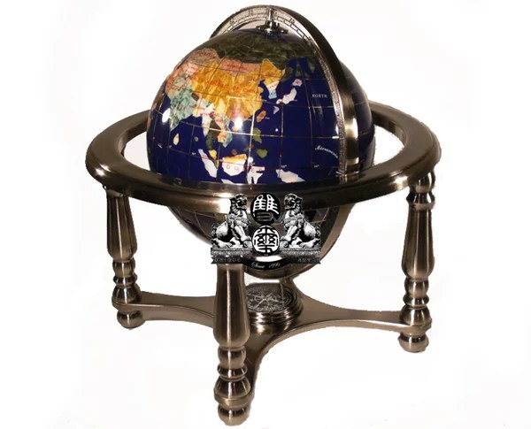Unique Art 10 Inch Tall Blue Ocean Gemstone World Globe