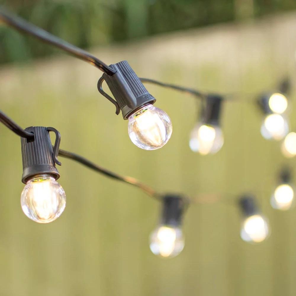 outdoor string lights led globe string lights g30 bulb 50 ft black c9 strand warm white