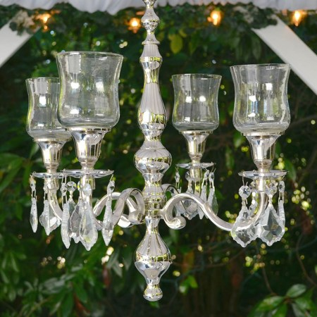 Event Decor Nikki Candle Chandelier Hanging Crystal Jewels Scroll Motif Silver