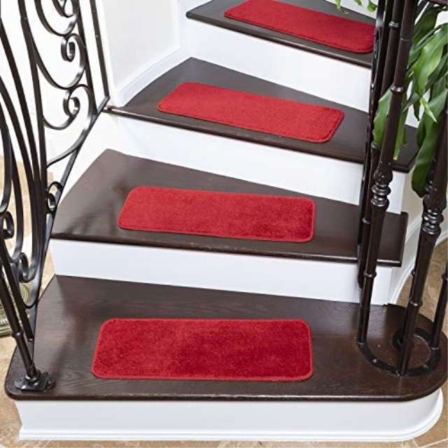 Ottomanson Softy Solid Red Set Of 7 Skid Resistant Rubber Backing | 7 Inch Carpet Stair Treads | Indoor Outdoor | Non Slip | Slip Resistant | Rug Styles | Tread Covers
