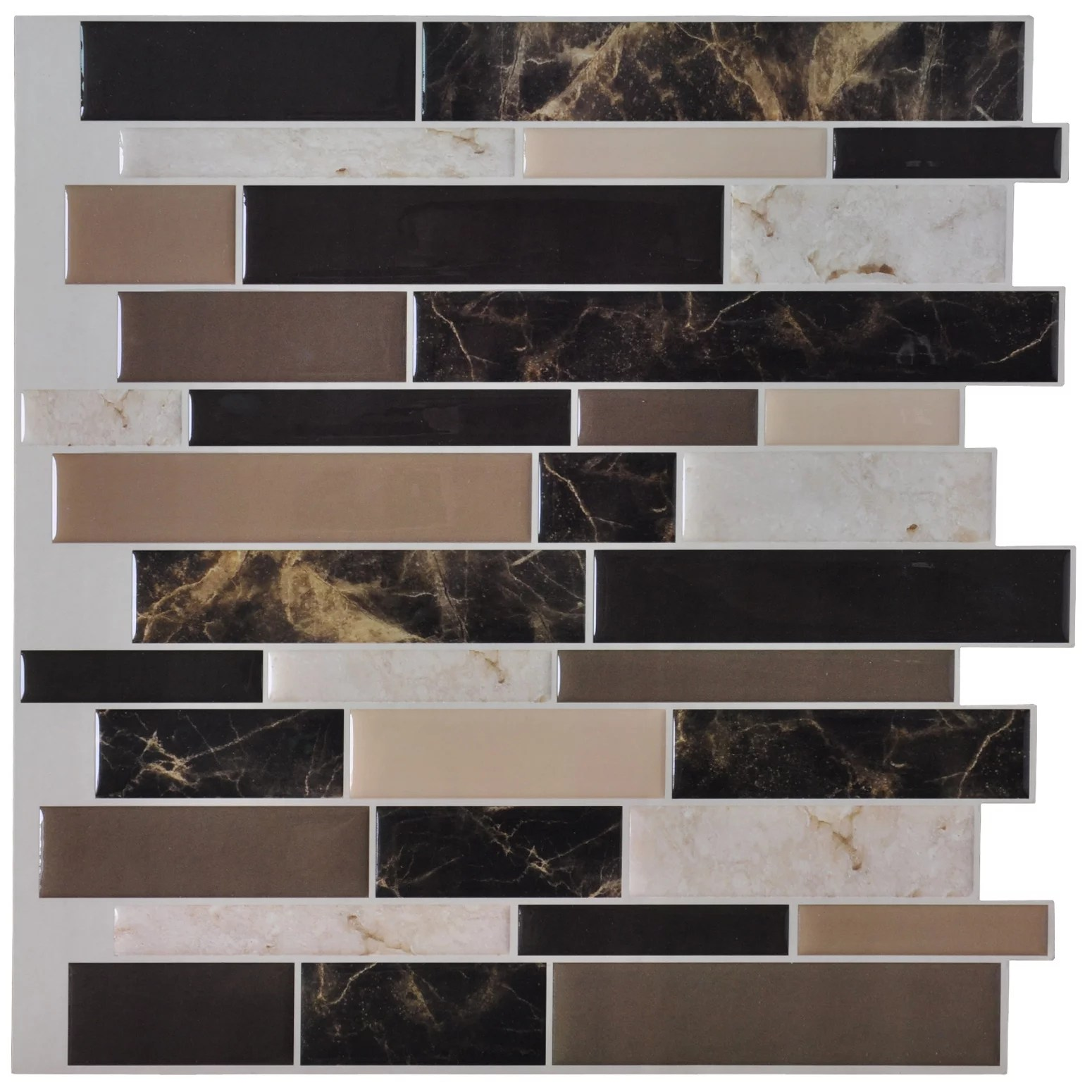 self adhesive wall tile peel and stick backsplash for kitchen 12 x12 6 sheets walmart com