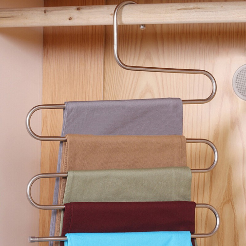 Multi-Purpose Pants Hangers 5 Layers Stainless Steel ... on Closet Space Savers Walmart  id=27971