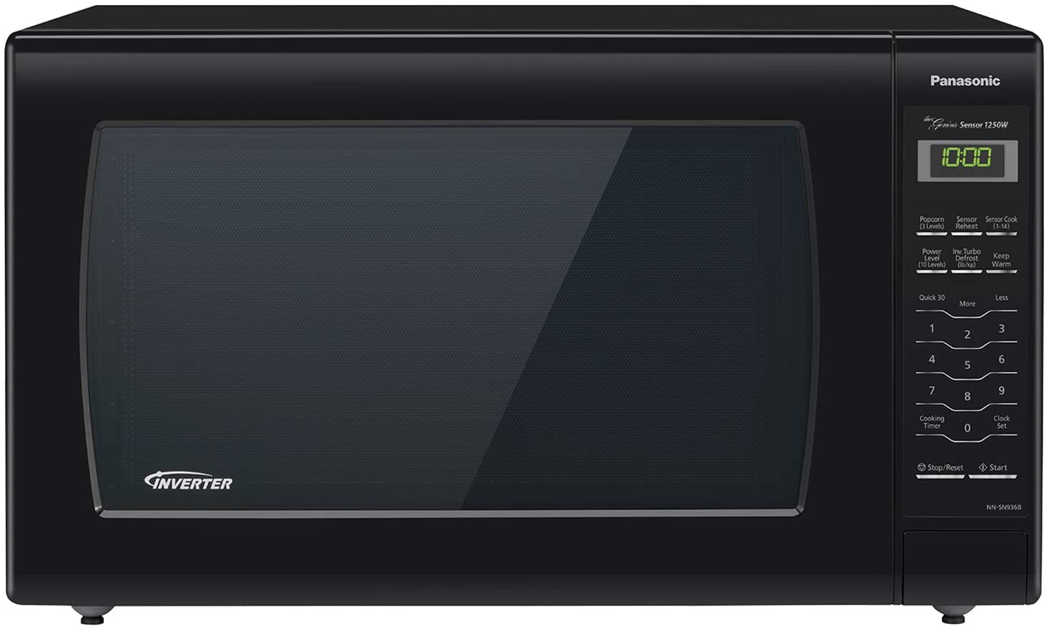 panasonic microwave oven nn sn936b black countertop with inverter technology and genius sensor 2 2 cubic foot 1250w
