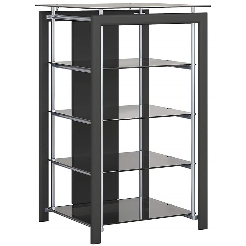 bowery hill 4 shelf metal and glass audio media storage rack stand in black