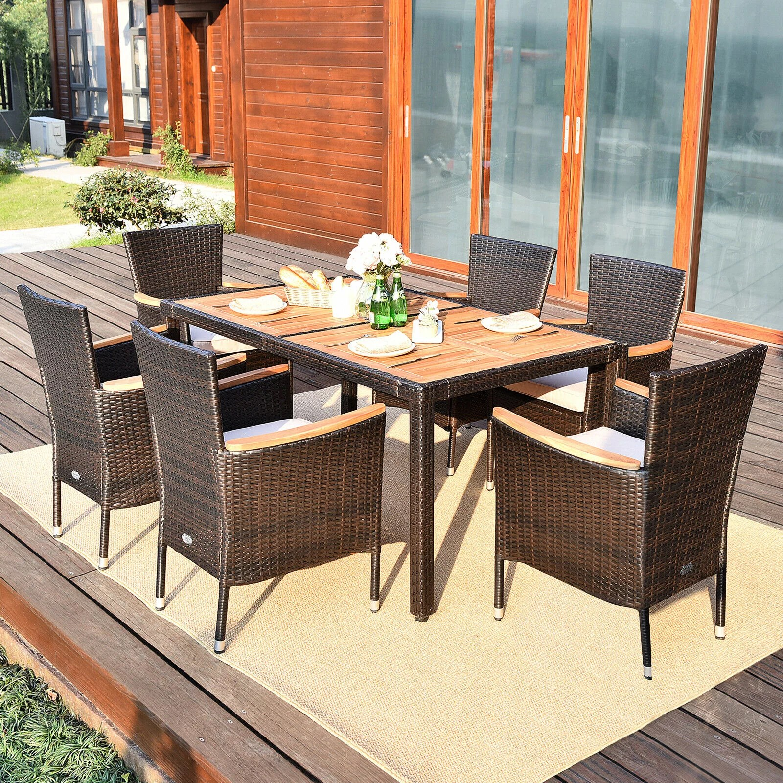 gymax 7pcs patio rattan dining set 6 stackable cushioned chairs patio walmart com