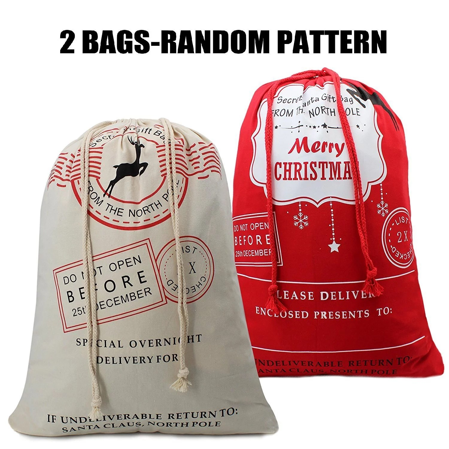 Bonison 2 Pack Random Christmas Bag Santa Sack Canvas Bag