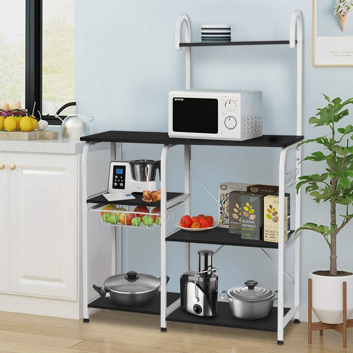kingso 4 tier accent kitchen cart with storage microwave multilevel oven stand shelf kitchen island bakers cart rack kitchen table coffee stand work