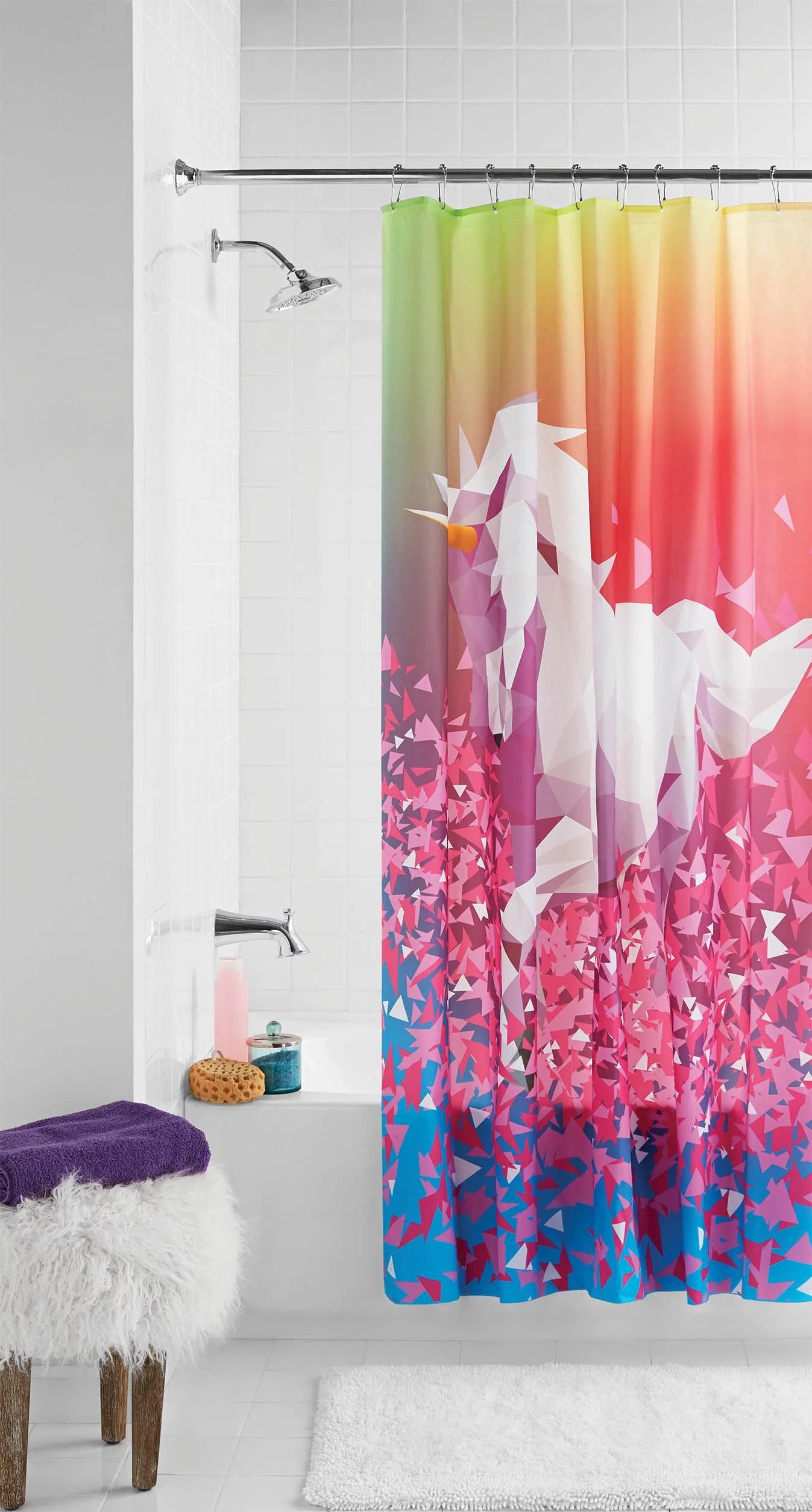 mainstays glitter unicorn shower curtain 70 x 72 walmart com