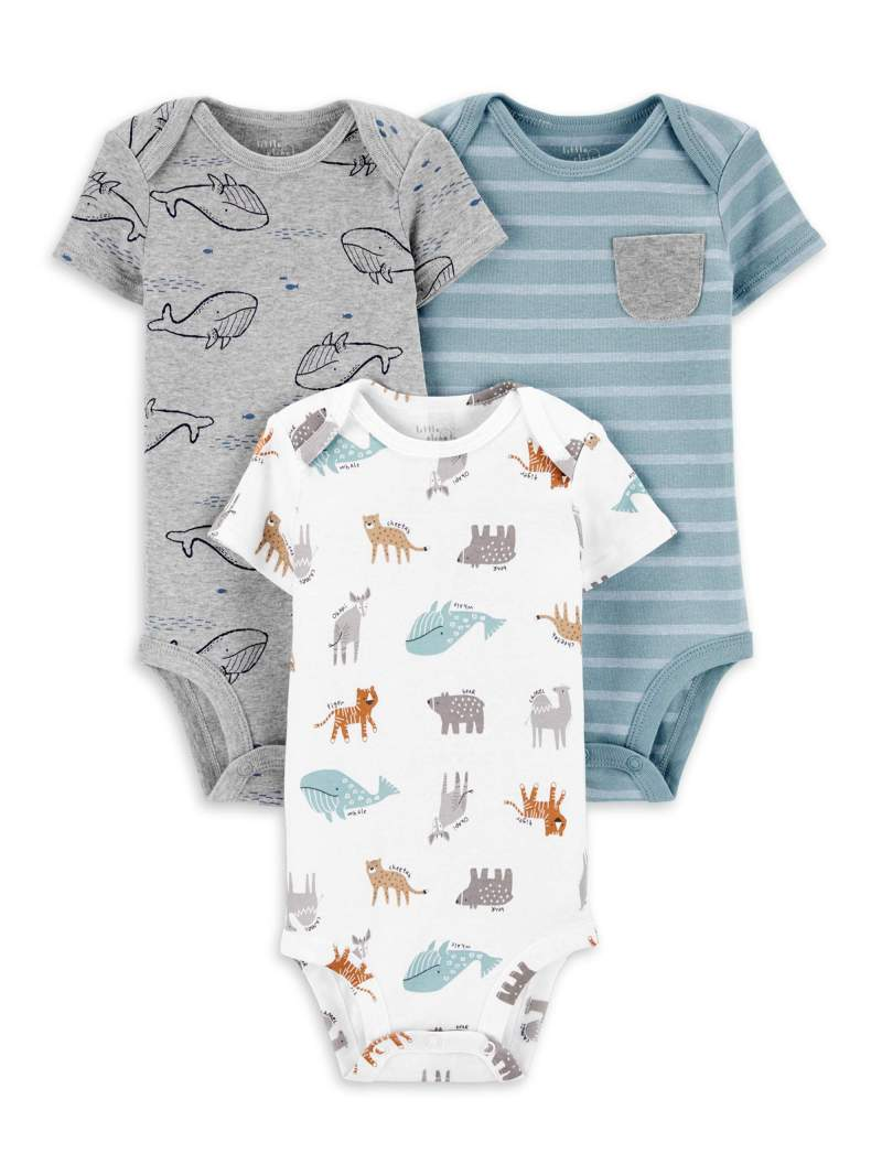Little Planet Organic Baby Boy Short Sleeve Bodysuits, 3-Pack