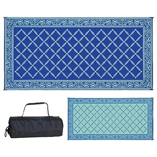 reversible mats 119183 outdoor patio 9feet x 18feet bluelightgreen rv camping mat