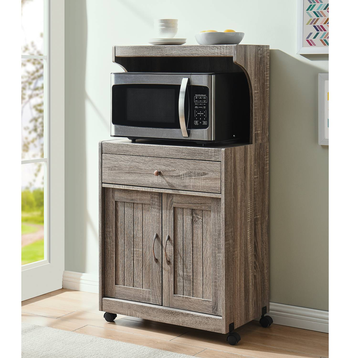 home source grey microwave cart with double door cabinet 1 drawer and top shelf
