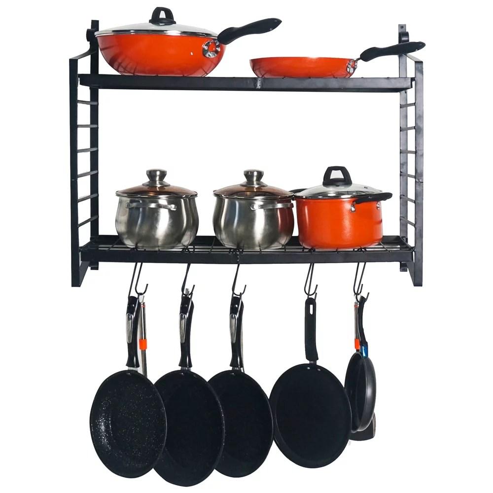 jumper pot rack pan rack hanger 2 tier shelf wall mounted pot pan rack w 10 hooks ceiling cookware storage organizer wall shelf adjustable height for