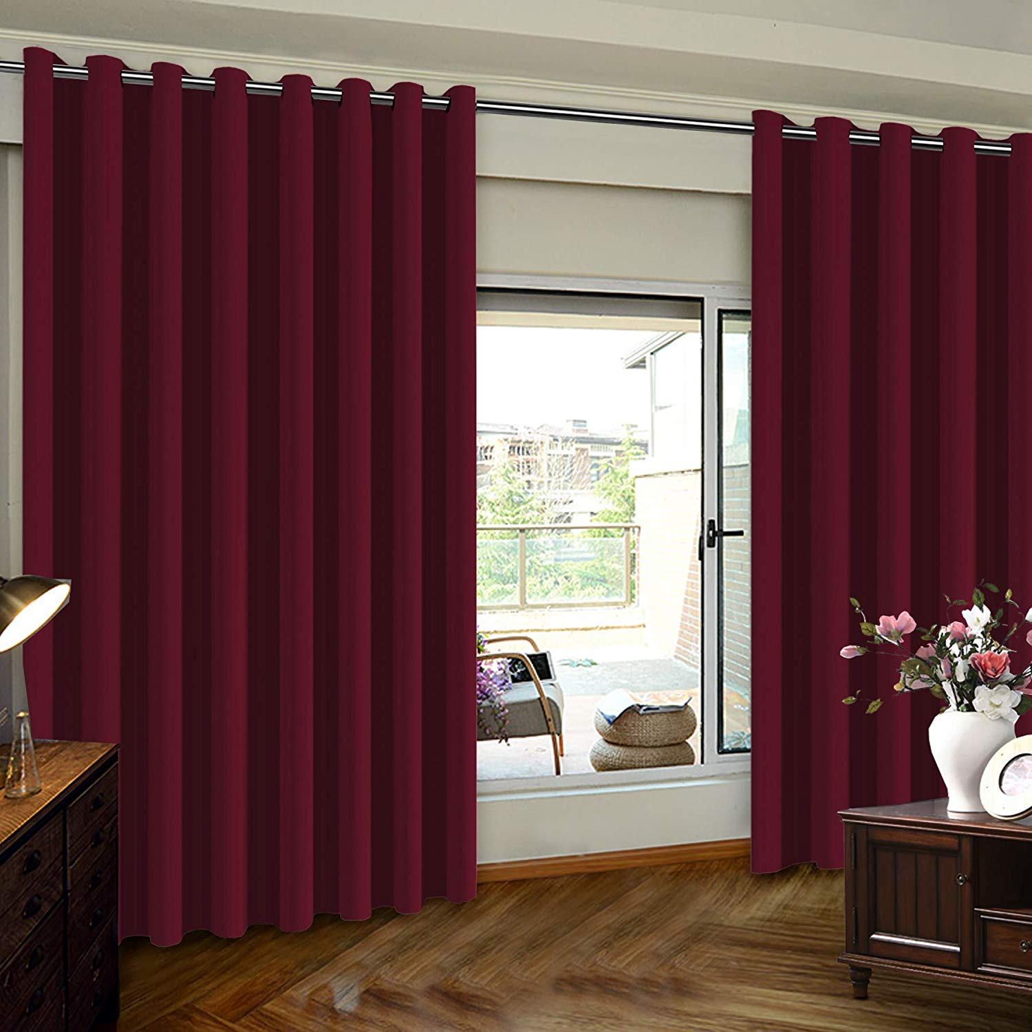 patio door curtain wide width drapes for living room blackout blinds for sliding door curtain burgundy extra wider 8 3ft wide x 7ft tall 100inch w