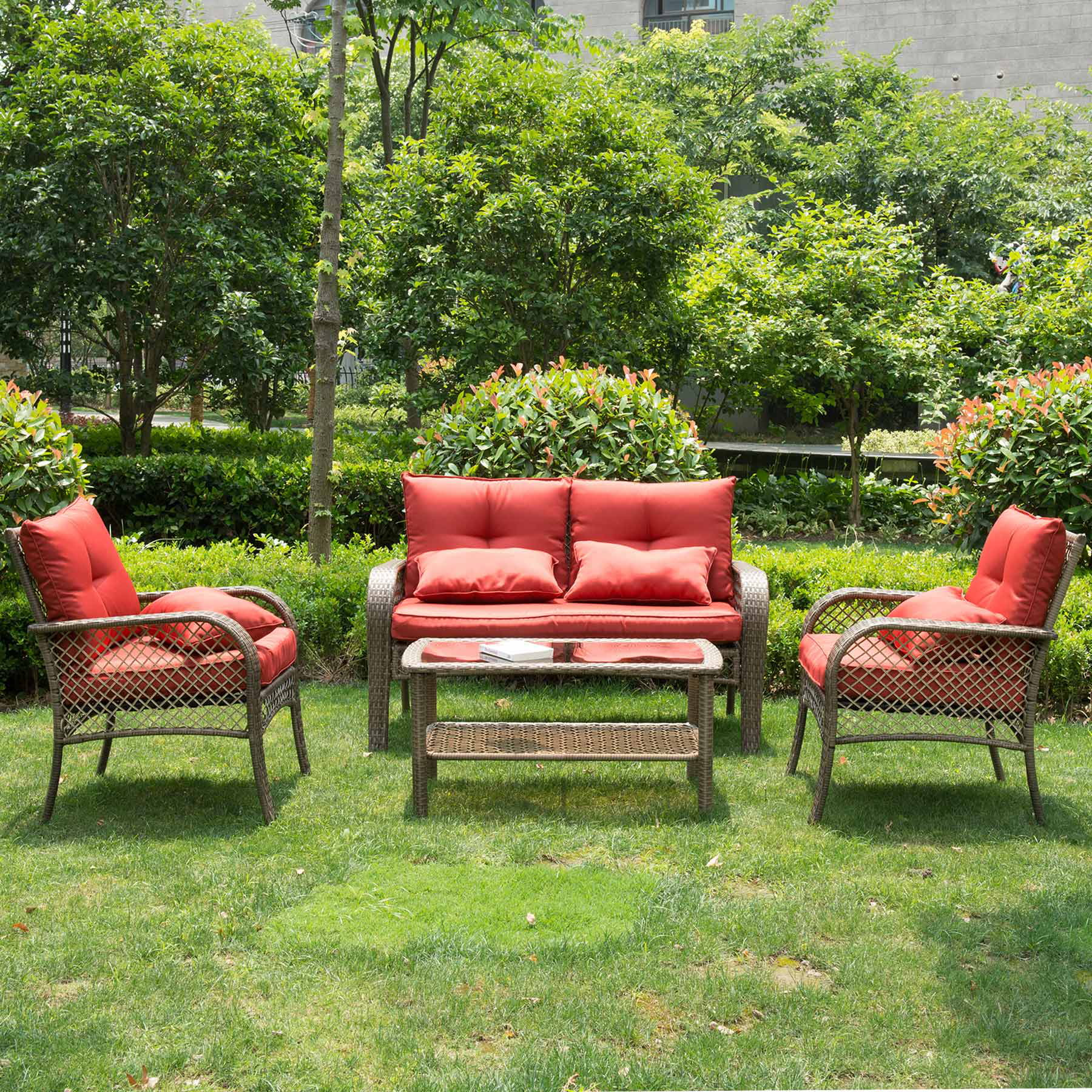 4 pcs all weather outdoor chairs with cushions pe rattan Backyard Outdoor Furniture id=42425