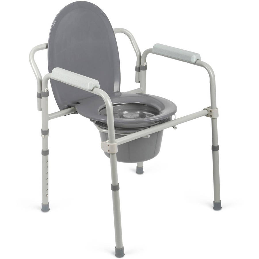 medline steel elongated 3 in 1 bedside commode 400lb weight capacity walmart com