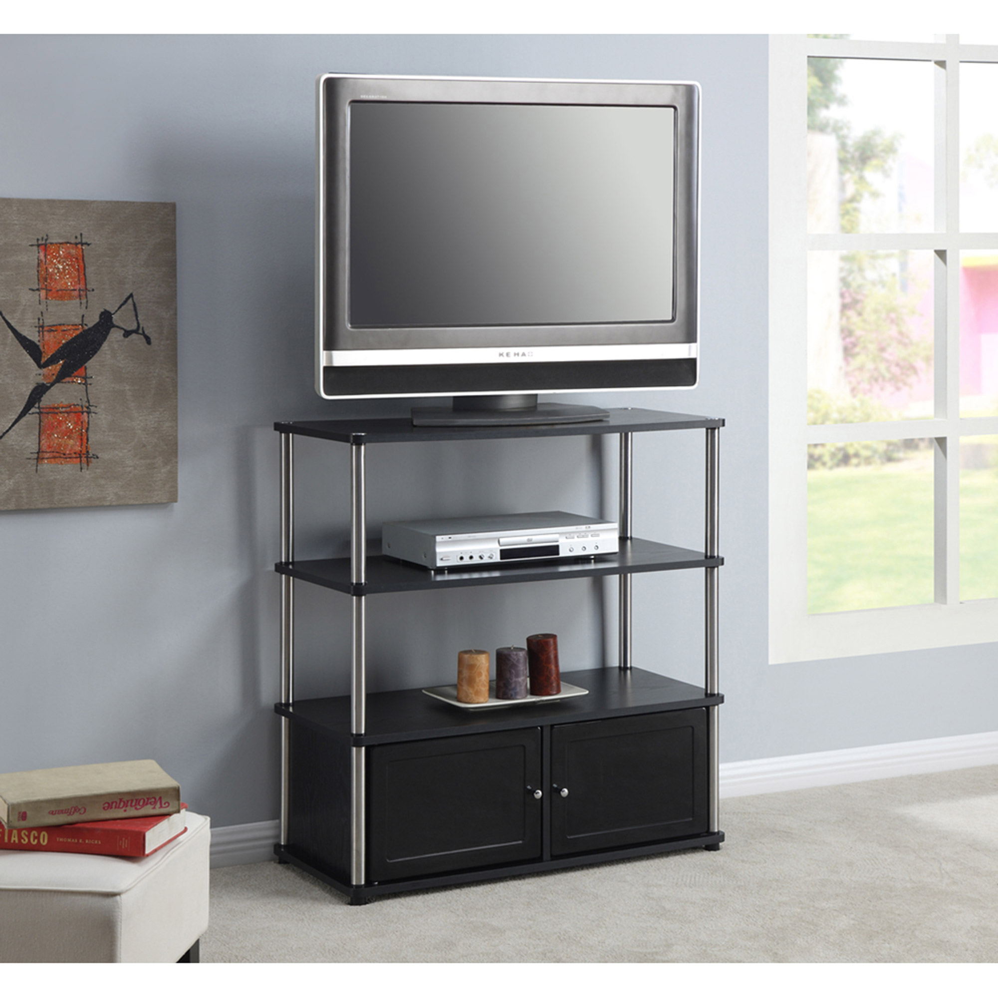 """designs 2 go high boy tv stand in black, for tvs up to 37"""" by"""