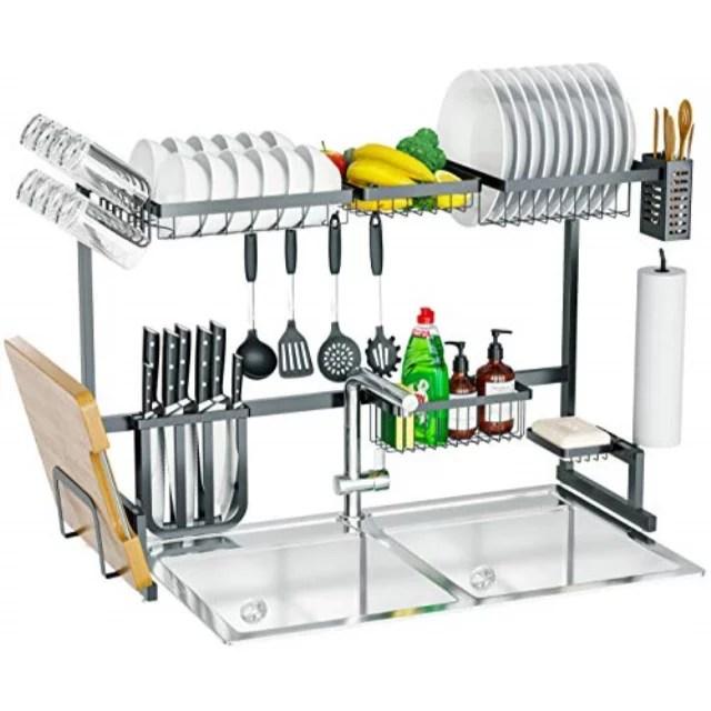 skywin kitchen dish rack over sink 15 piece set 2 tier dish rack for counter over the sink dish rack black steel dish rack