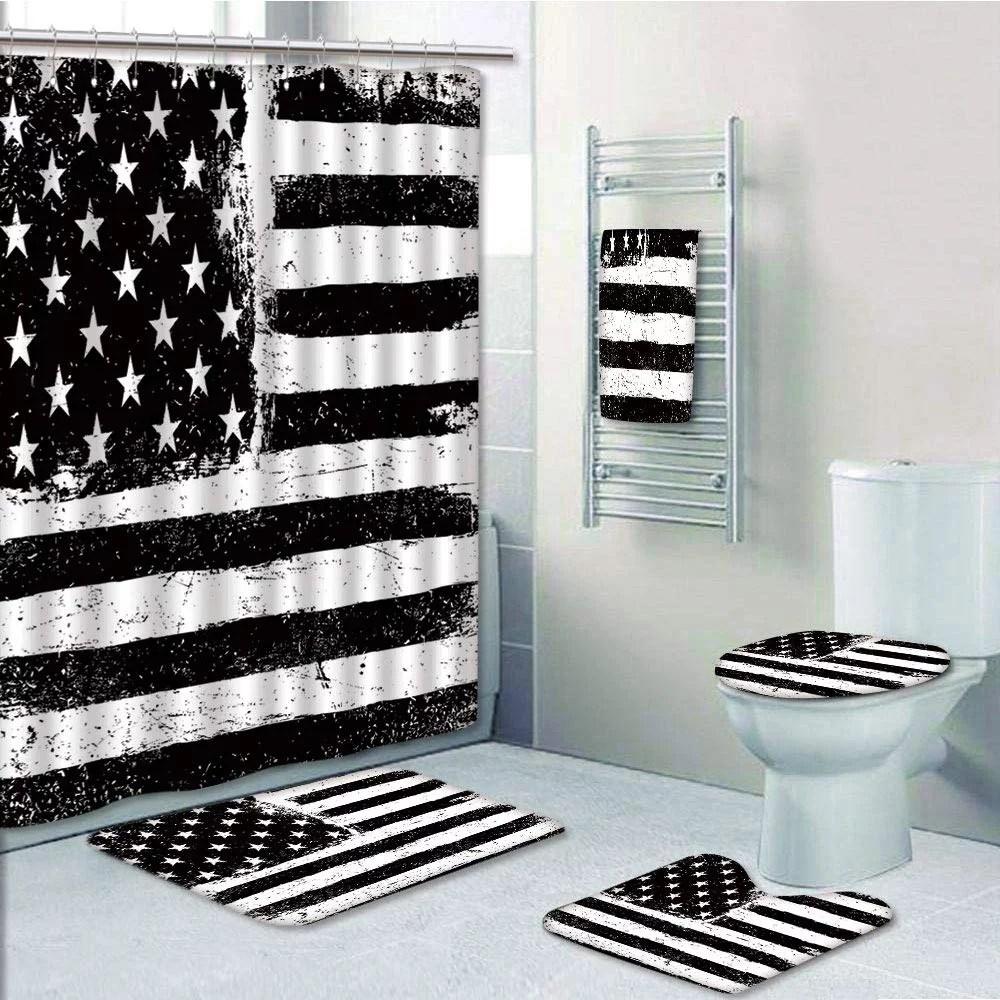 prtau united states grunge aged american flag independence fourth of july decor 5 piece bathroom set shower curtain bath towel bath rug contour mat