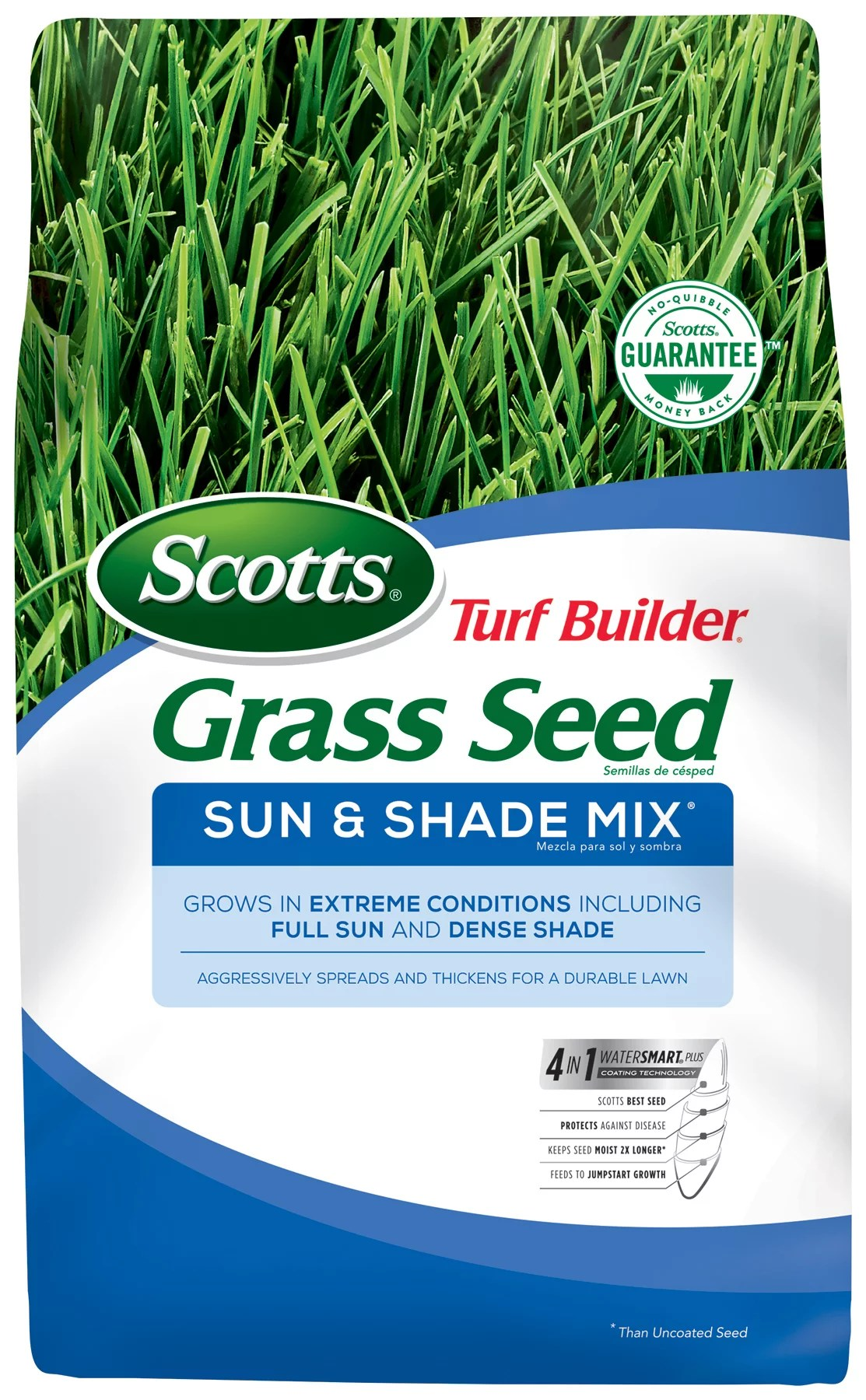 Scotts Turf Builder Grass Seed Sun & Shade Mix, 3 lb., Seeds up to 1,200 sq. ft.