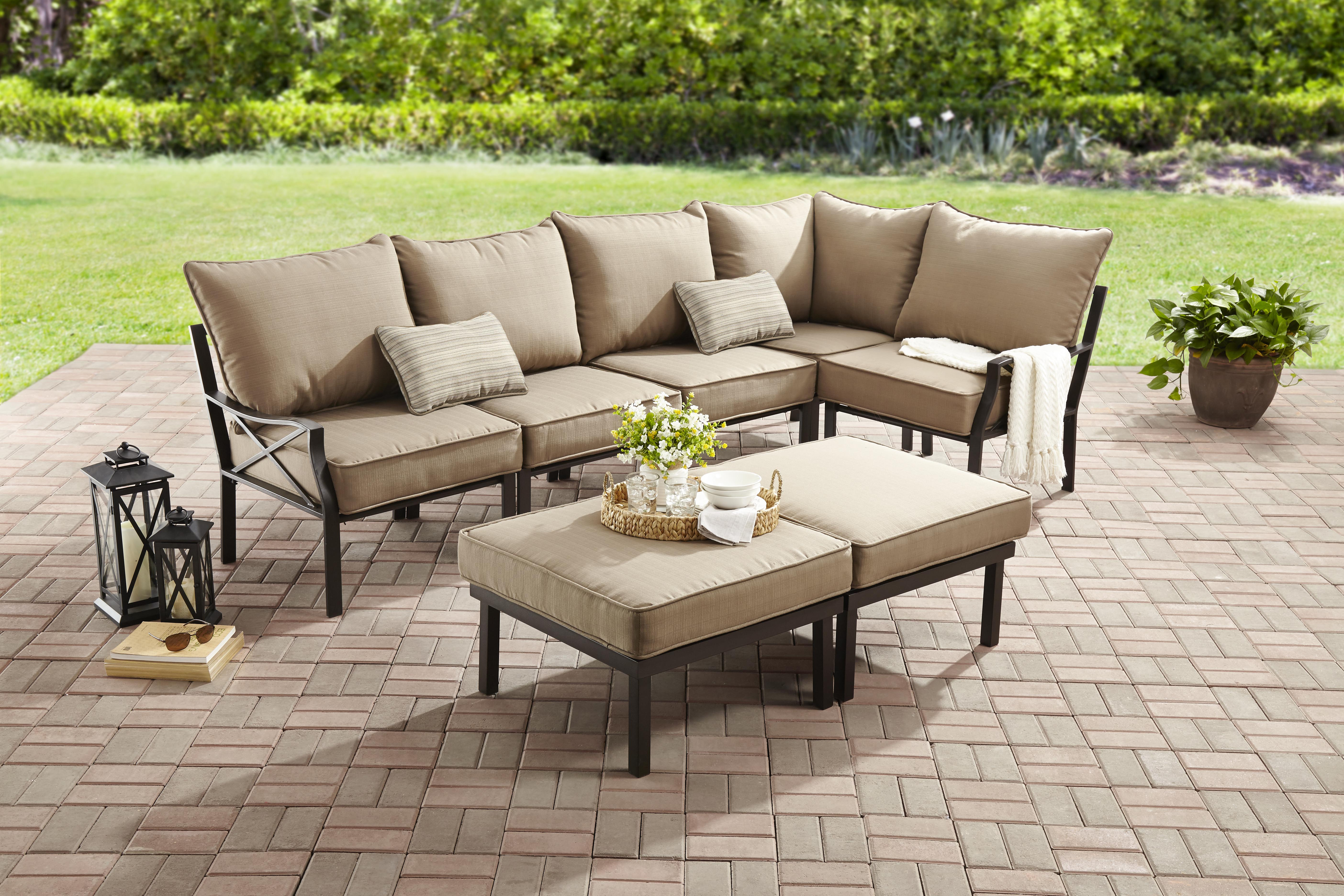 Mainstays Sandhill 7-Piece Outdoor Sofa Sectional Set ... on 5 Piece Sectional Patio Set id=15210