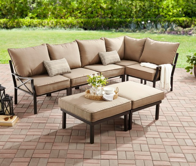 Mainstays Sandhill  Piece Outdoor Sofa Sectional Set Seats  Walmart Com