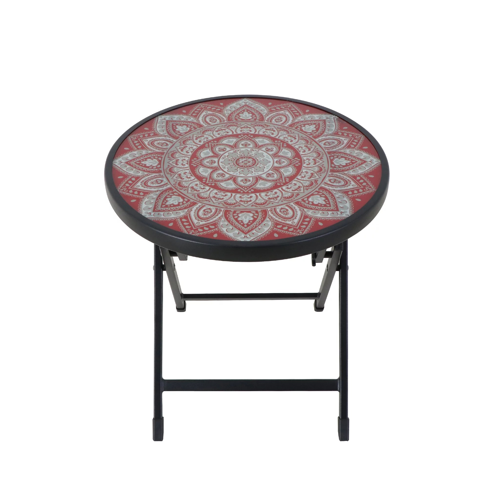 mainstays outdoor patio folding side table glass top red black