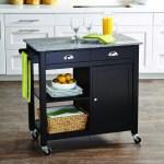 Better Homes Gardens Black 35 Inch Tall Kitchen Cart With Granite Top Casters Walmart Com Walmart Com