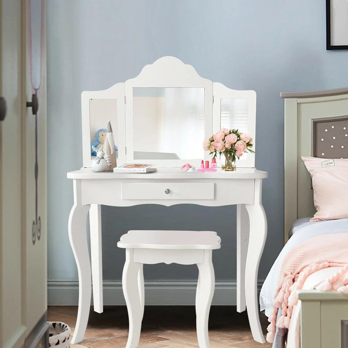 costway vanity table set makeup dressing table kids girls stool mirror walmart com