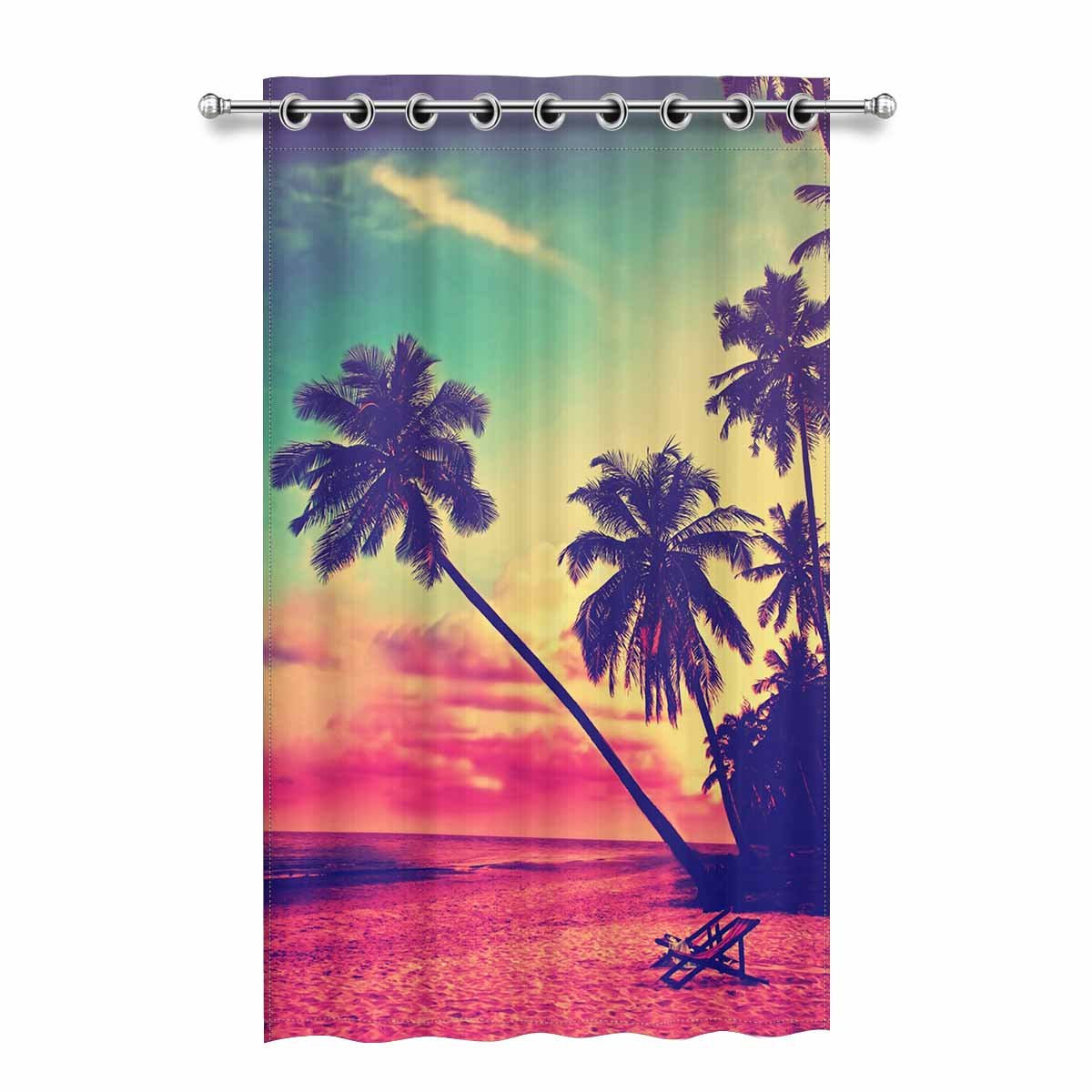 yusdecor beautiful tropical beach blackout window curtain drapes bedroom living room kitchen curtains 52x84 inch
