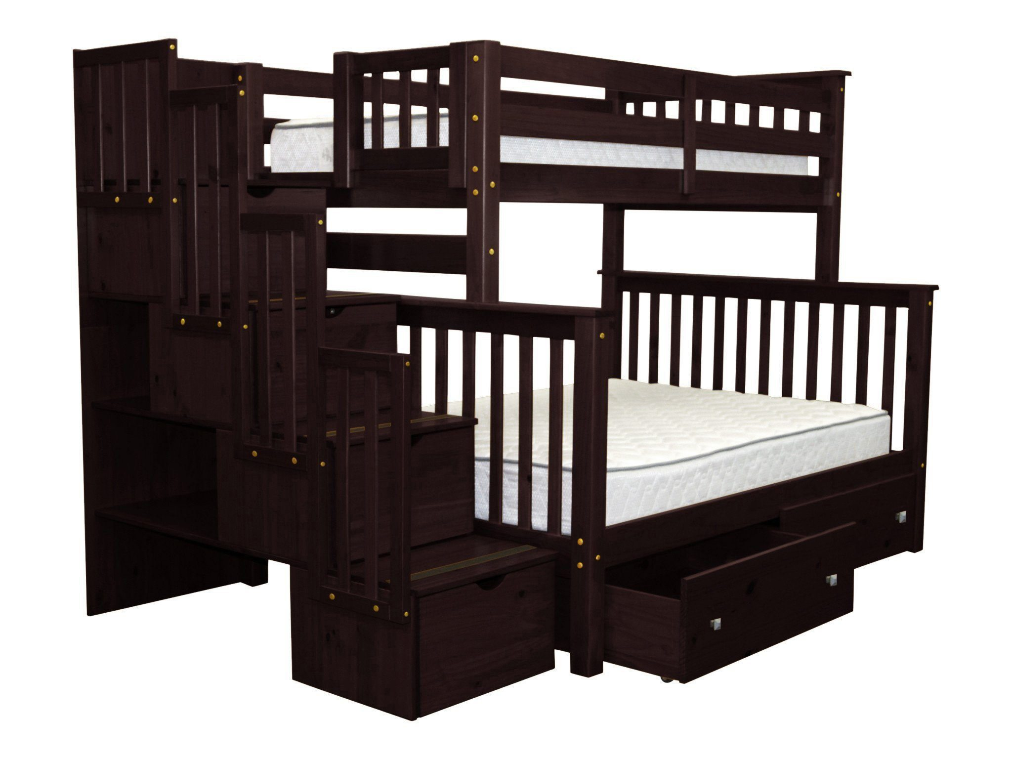 Bedz King Stairway Bunk Beds Twin Over Full With 4 Drawers In The Steps And 2 Under Bed Drawers Cappuccino Walmart Com Walmart Com