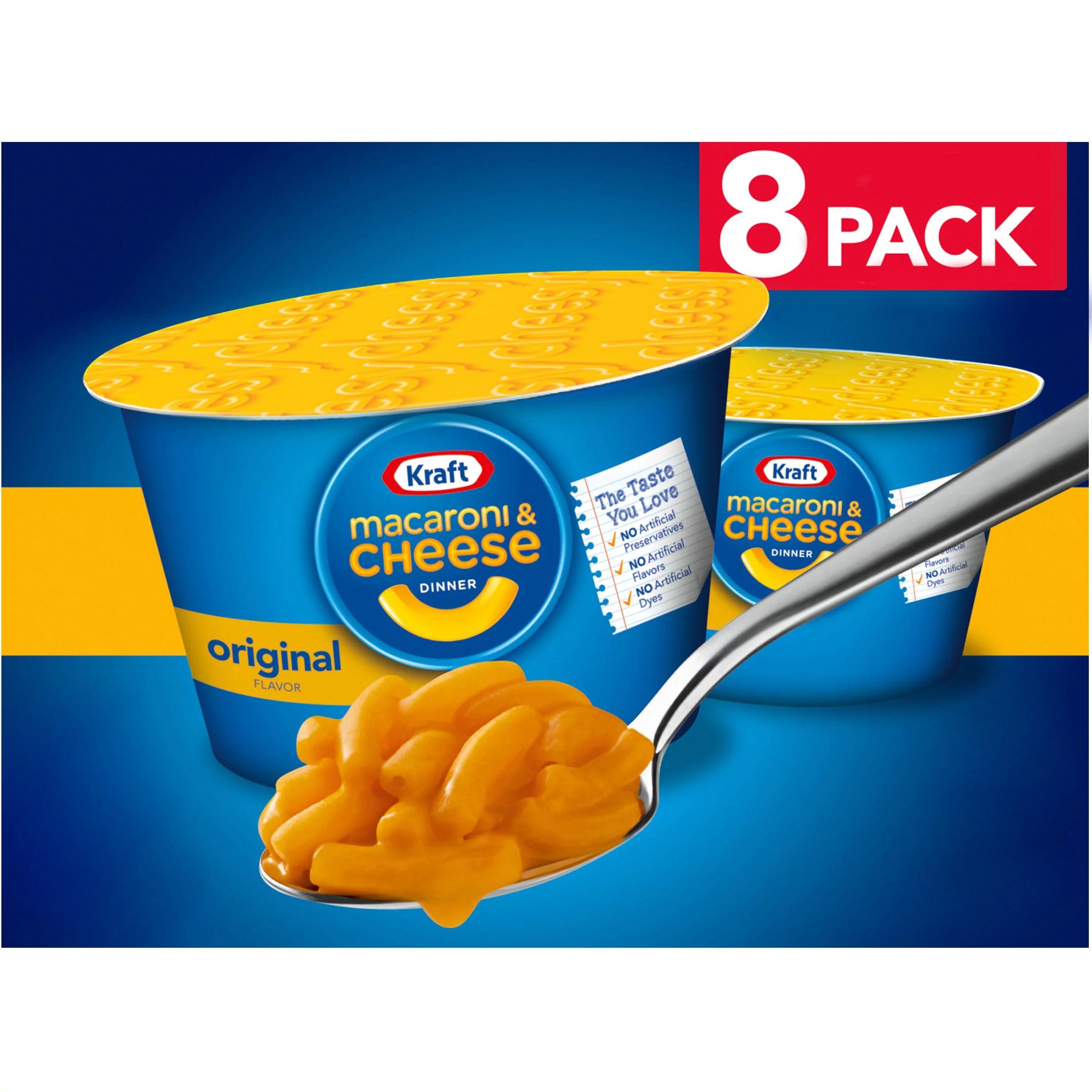 kraft original macaroni cheese easy microwavable dinner 8 ct box 2 05 oz cups walmart com