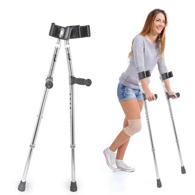 pivit deluxe aluminum forearm crutches 5 5 6 4 pack of 2 lightweight high strength aluminum tubing design reduces stress fatigue soreness