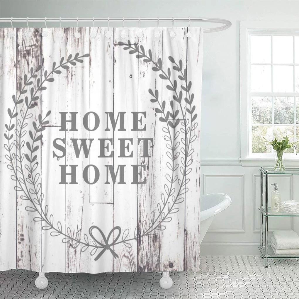 cynlon modern white wood rustic farmhouse home sweet farm shabby bathroom decor bath shower curtain 60x72 inch walmart com
