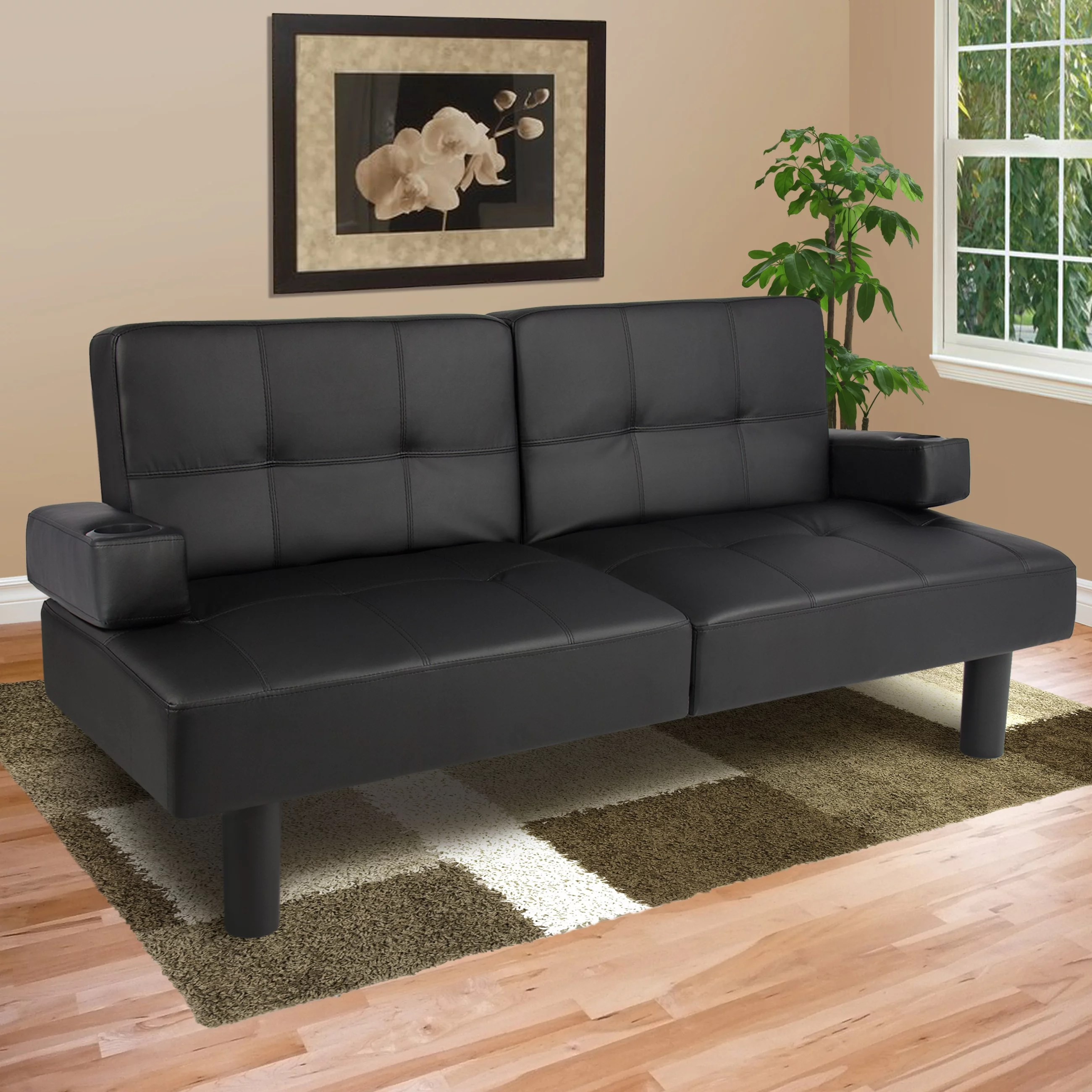 best choice products modern faux leather fold down convertible futon sofa bed w 2 cup holders black