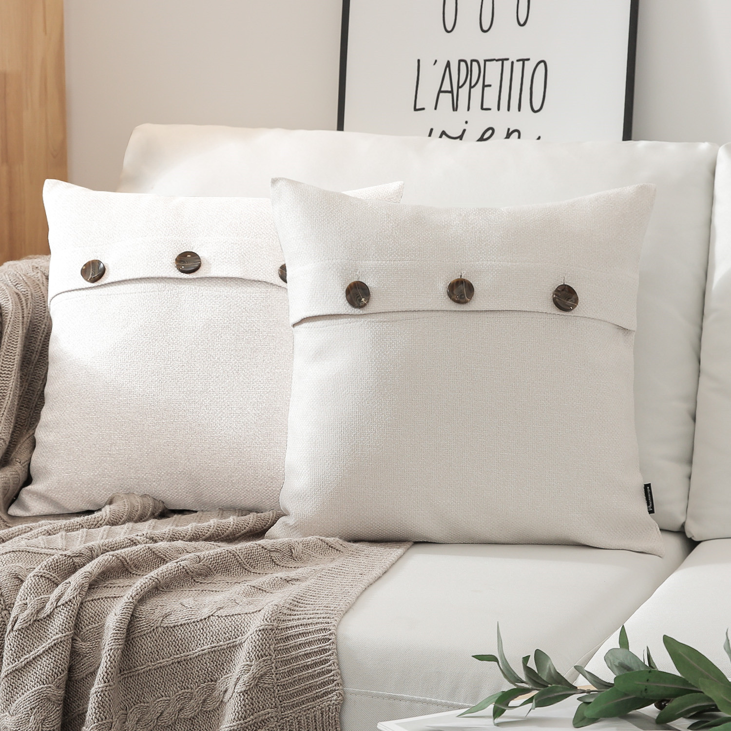 phantoscope triple buttons cotton blend series farmhouse square decorative throw pillow cusion for couch 18 x 18 off white 2 pack