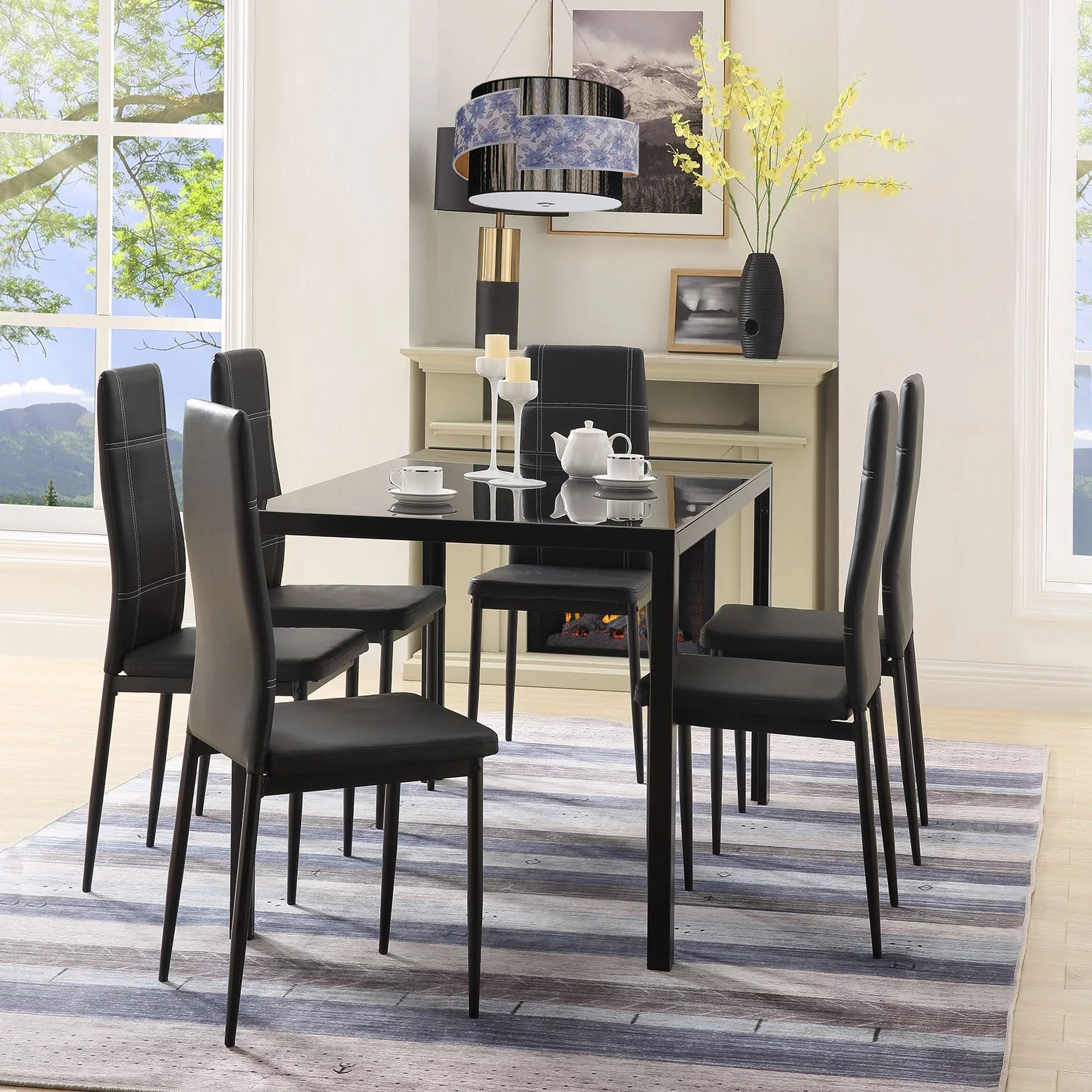 clearance kitchen table and 6 chairs set modern metal on dining room sets on clearance id=44892