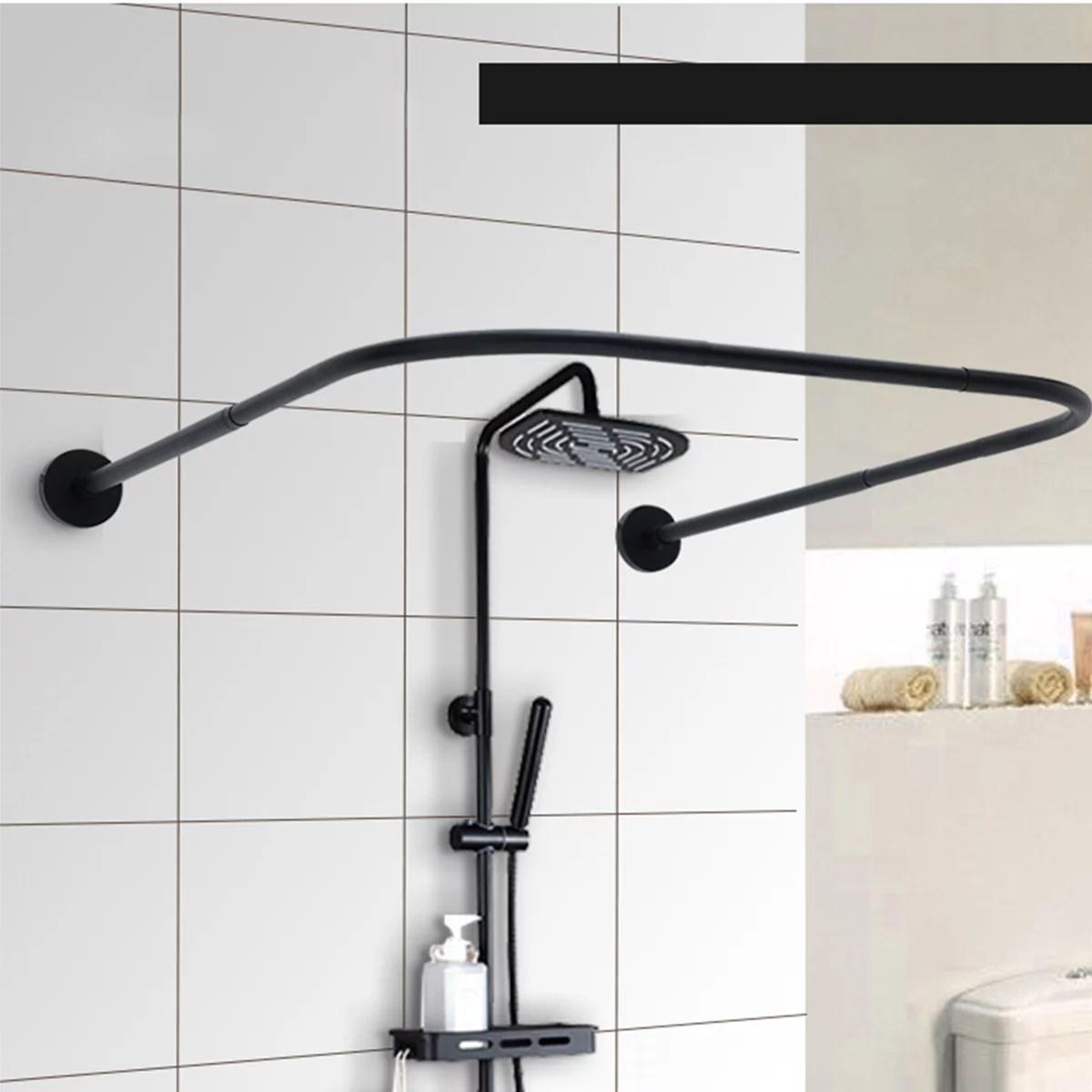 u shape adjustable curved corner shower curtain rods pole bathroom bars rail rod christmas gifts