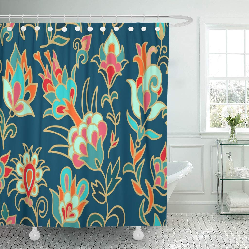 Ksadk Paisley Turkish Floral Pattern With Fantasy Flowers On Dark Turquoise Japanese Scarf Batik Bathroom Shower Curtain 60x72 Inch Walmart Com Walmart Com
