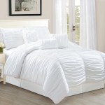 Wpm 7 Piece Royal White Ruched Comforter Set Elegant Bed In A Bag Luxurious Queen Size Bedding Walmart Com Walmart Com