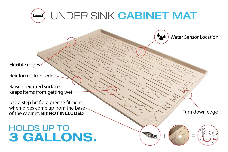 xtreme mats under sink kitchen cabinet mat 31 x 22 beige