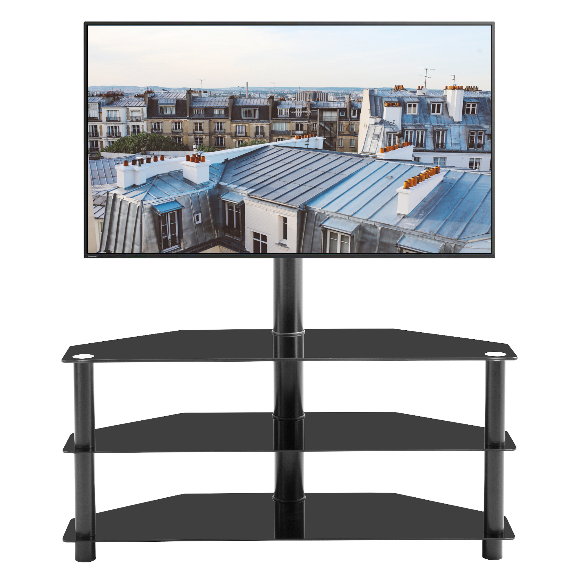 Corner Tv Stand 3 Tier Glass Tv Stand For 32 65 Inch Lcd Led Tv Entertainment Center With Storage Shelves Swivel Mount Media Console Table Living Room Office Home Tv Cabinet W8638