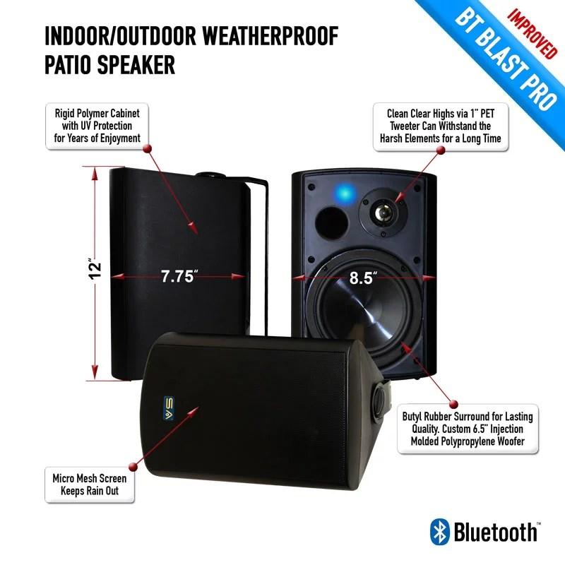 bluetooth 6 50 indoor outdoor weatherproof patio speakers wireless outdoor speakers black pair by sound appeal