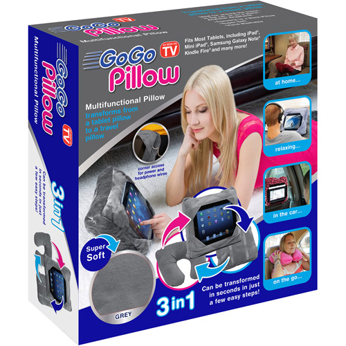 as seen on tv gogo pillow tablet holder gray walmart com