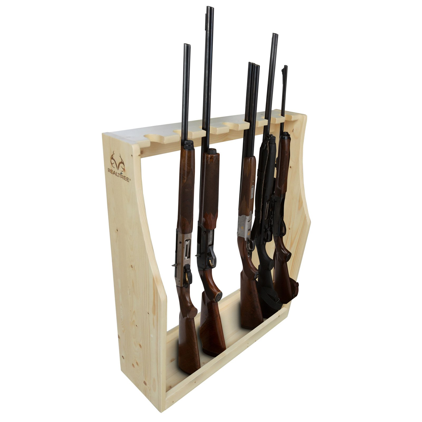 realtree solid pine 7 gun floor storage rack heavy duty construction